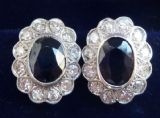 Beautiful art deco 18ct 18k white gold sapphire and diamond stud cluster vintage antique earrings